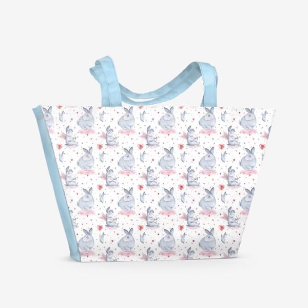Пляжная сумка «Паттерн Влюбленные зайки (любовь, сердце, День Святого Валентина)»