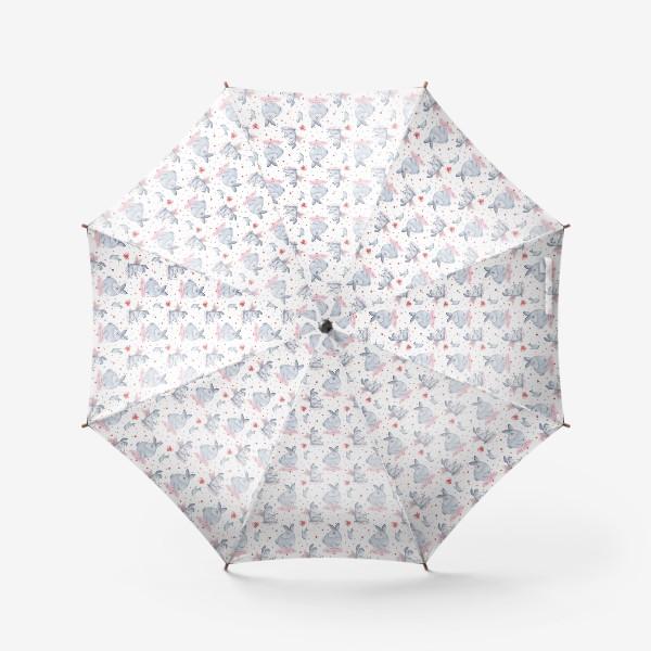Зонт «Паттерн Влюбленные зайки (любовь, сердце, День Святого Валентина)»