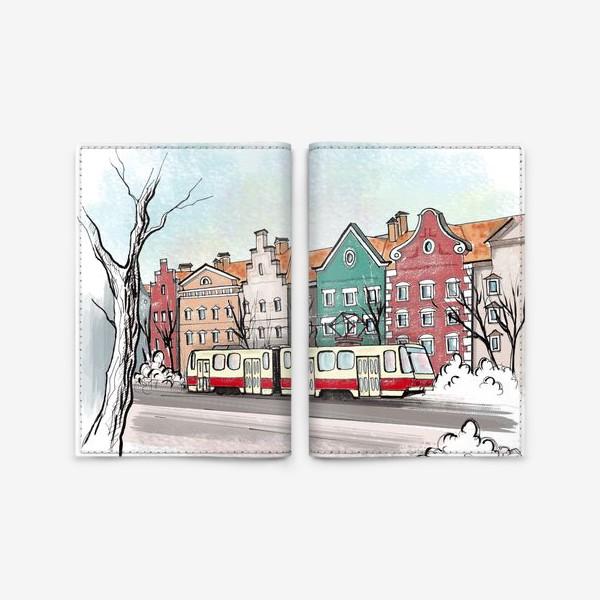 Обложка для паспорта «Трамвай. Улицы Калининграда.»