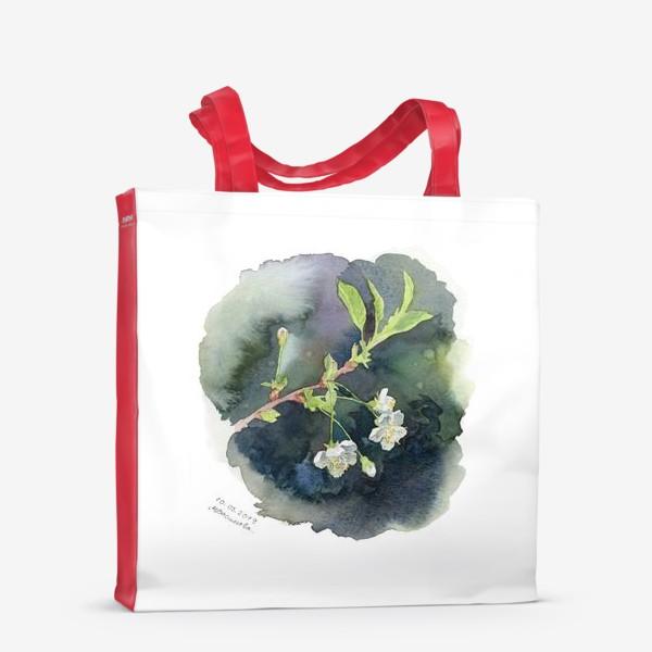 Сумка-шоппер «Цветущая вишня акварельная»