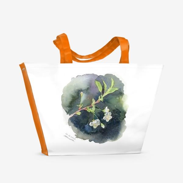 Пляжная сумка «Цветущая вишня акварельная»