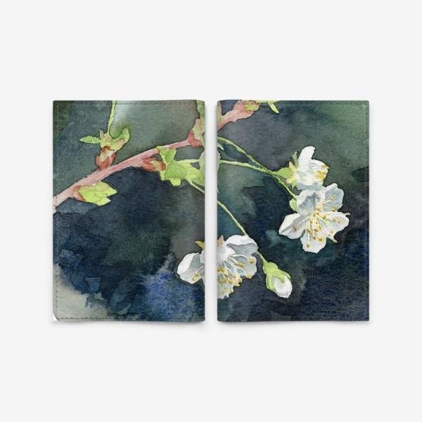 Обложка для паспорта «Цветущая вишня акварельная»