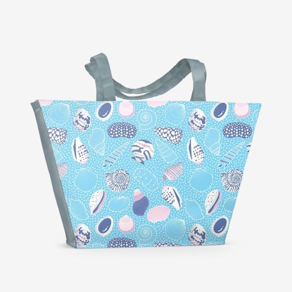 Пляжная сумка «Морские ракушки паттерн»