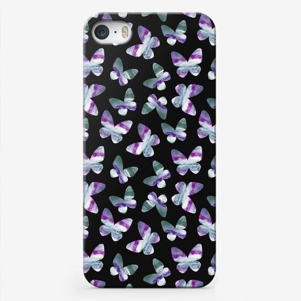 Чехол iPhone «Бабочки на черном фоне»
