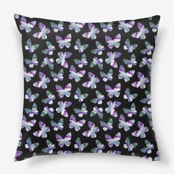 Подушка «Бабочки на черном фоне»