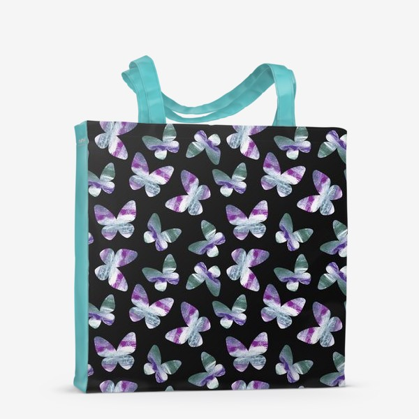 Сумка-шоппер «Бабочки на черном фоне»