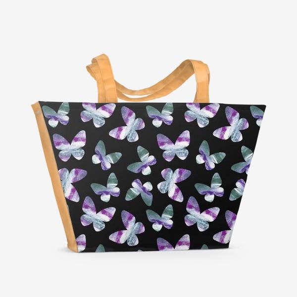 Пляжная сумка «Бабочки на черном фоне»