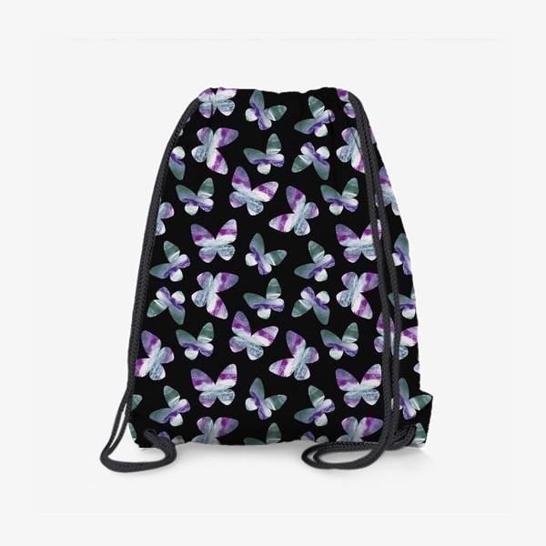Рюкзак «Бабочки на черном фоне»