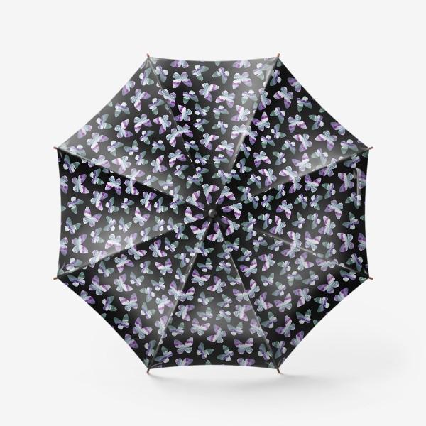 Зонт «Бабочки на черном фоне»