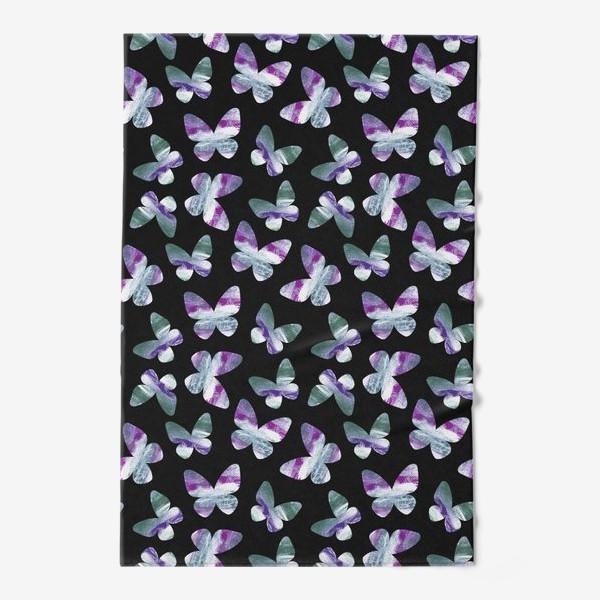 Полотенце «Бабочки на черном фоне»