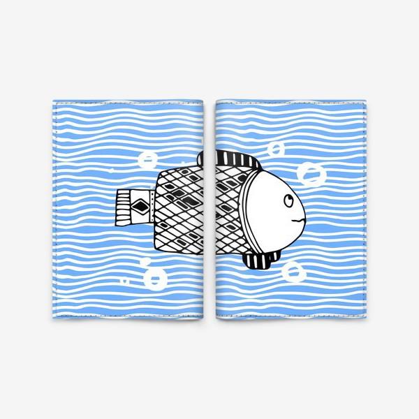 Обложка для паспорта «Fish doodle  on  wave background.»