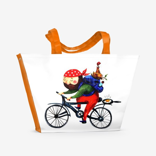 Пляжная сумка «Суровый Велосипедист»