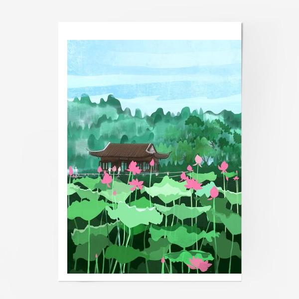 Постер «Лотосы цветут. Виды Китая»