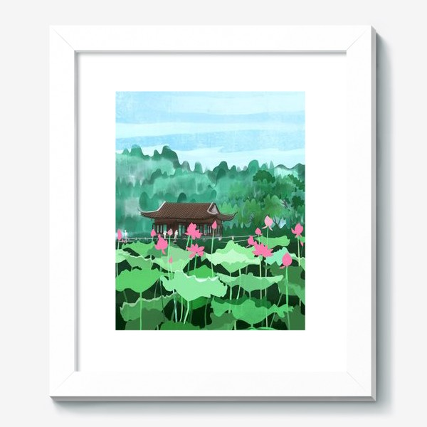 Картина «Лотосы цветут. Виды Китая»