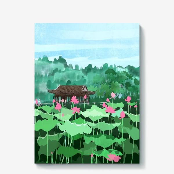 Холст «Лотосы цветут. Виды Китая»
