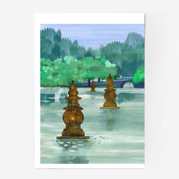 Постер «Лето на озере Сиху. Хангжоу. Виды Китая»