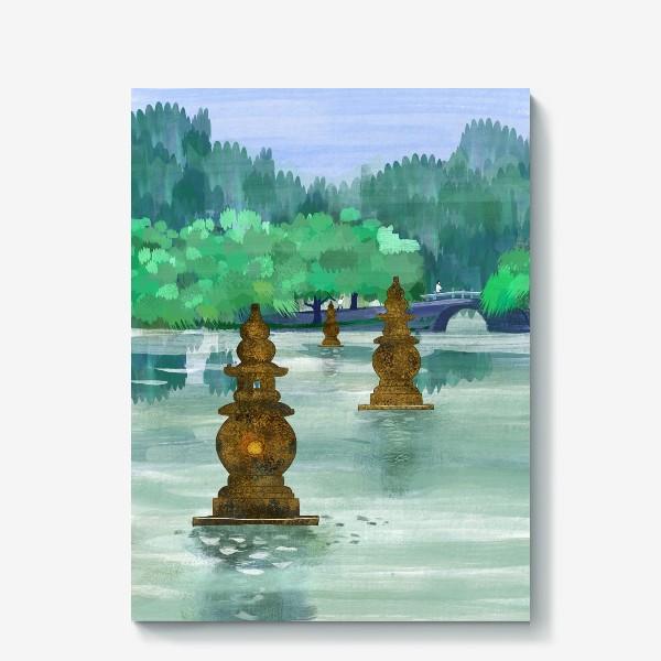 Холст «Лето на озере Сиху. Хангжоу. Виды Китая»