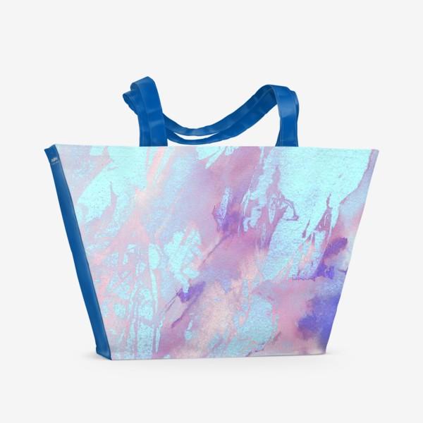 Пляжная сумка «Абстракция. Розовый и голубой»
