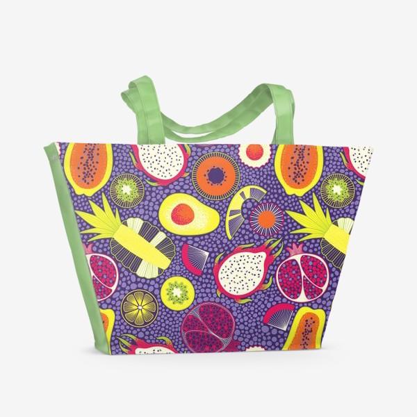 Пляжная сумка «Экзотические фрукты, паттерн»