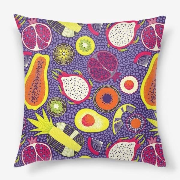 Подушка «Экзотические фрукты, паттерн»