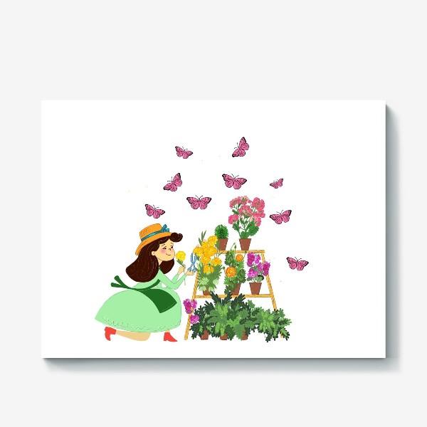 Холст «Бабочки и цветы»