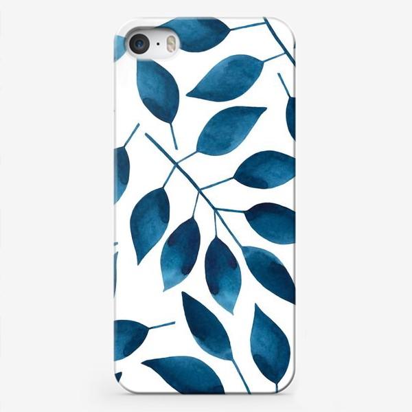 Чехол iPhone «Синие листья»