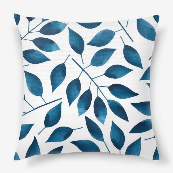 Подушка «Синие листья»