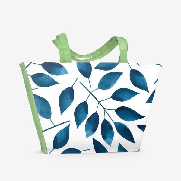 Пляжная сумка «Синие листья»