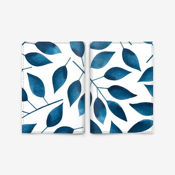 Обложка для паспорта «Синие листья»
