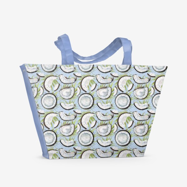 Пляжная сумка «кокосы на светлом фоне»