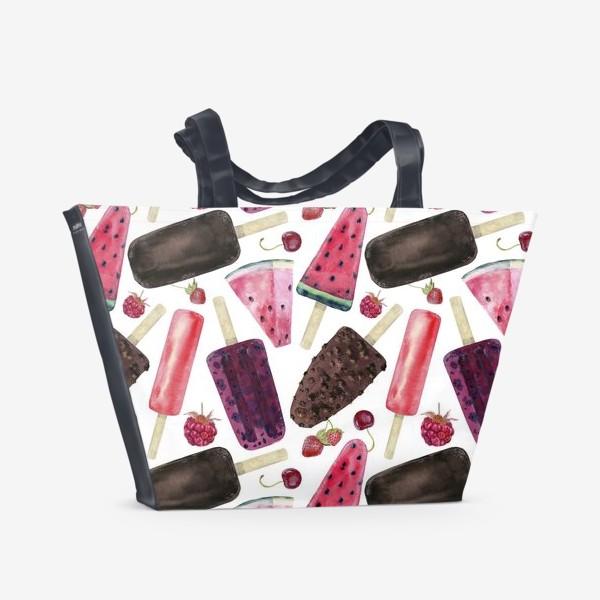 Пляжная сумка «мороженое,фрукты,ягоды»