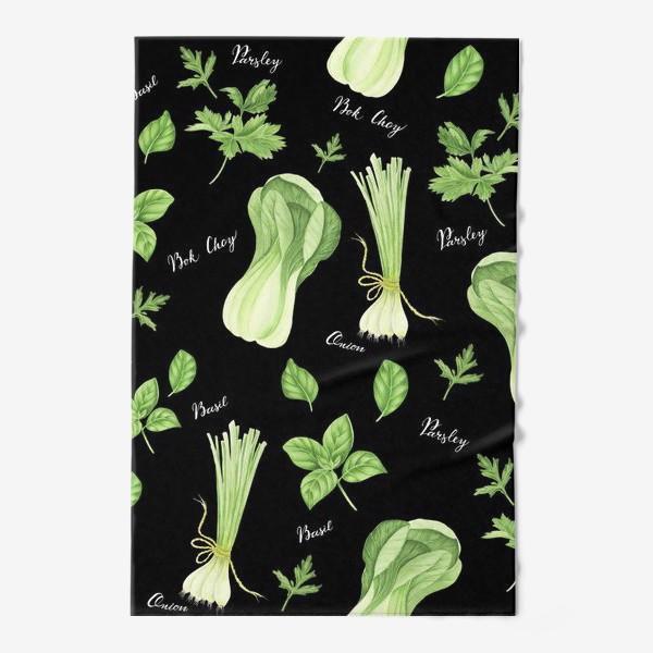 Полотенце «Зеленые овощи на черном фоне»