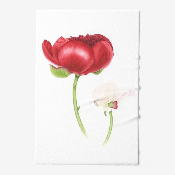 Полотенце «Красный и белый пионы»