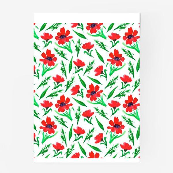 """Постер «Акварельный принт """"Красные тюльпаны""""»"""