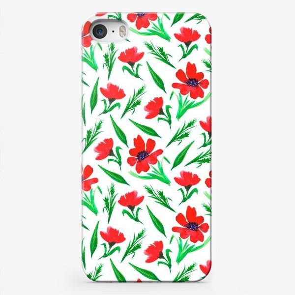 """Чехол iPhone «Акварельный принт """"Красные тюльпаны""""»"""