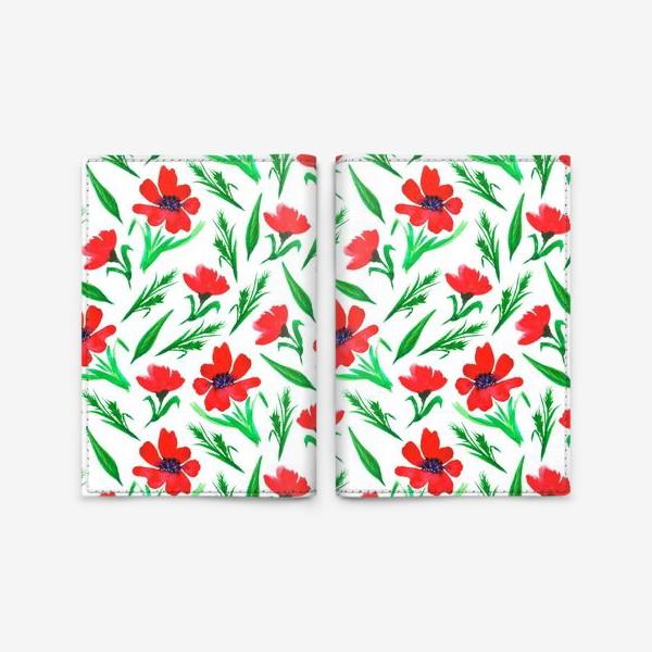 """Обложка для паспорта «Акварельный принт """"Красные тюльпаны""""»"""