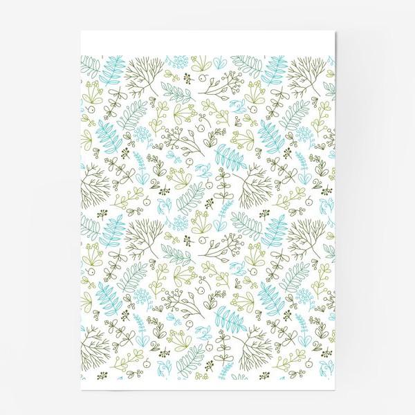 Постер «Растительный паттерн на белом фоне»