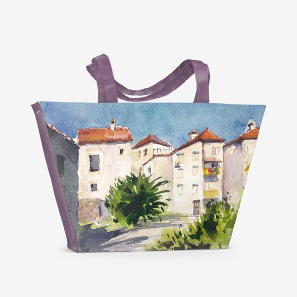 Пляжная сумка «Дворик в старом городе. Лето в Будве. Черногорская серия. »