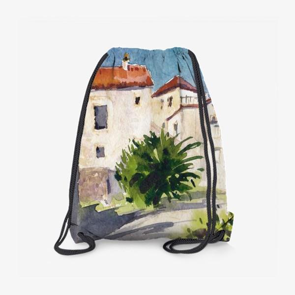 Рюкзак «Дворик в старом городе. Лето в Будве. Черногорская серия. »