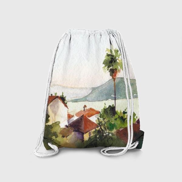Рюкзак «Пейзаж с морем и пальмами. Херцег-Нови. Черногорская серия. »