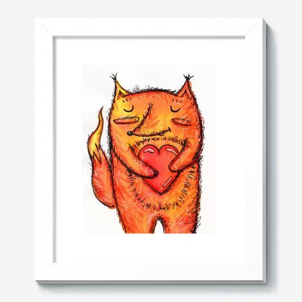 Картина «Акварельный лисёнок с сердцем»