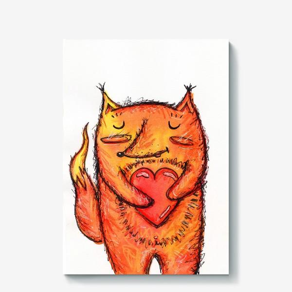 Холст «Акварельный лисёнок с сердцем»