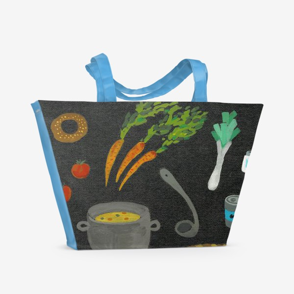 Пляжная сумка «вкусная и полезная еда»