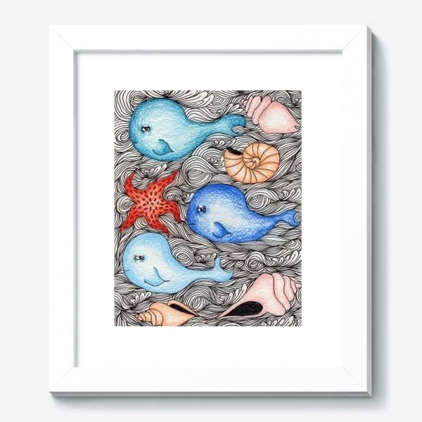 Картина «Киты и ракушки»