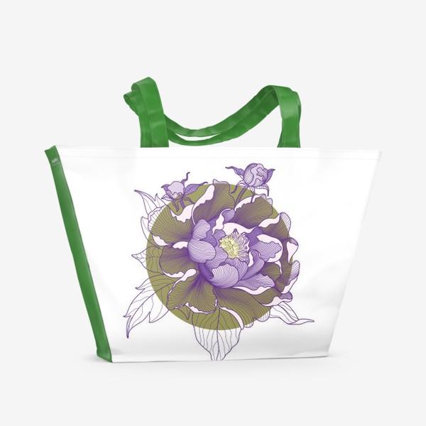 Пляжная сумка «Цветок пион»