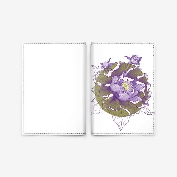 Обложка для паспорта «Цветок пион»