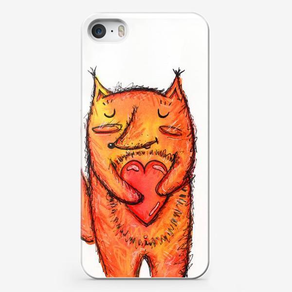 Чехол iPhone «Акварельный лисёнок с сердцем»
