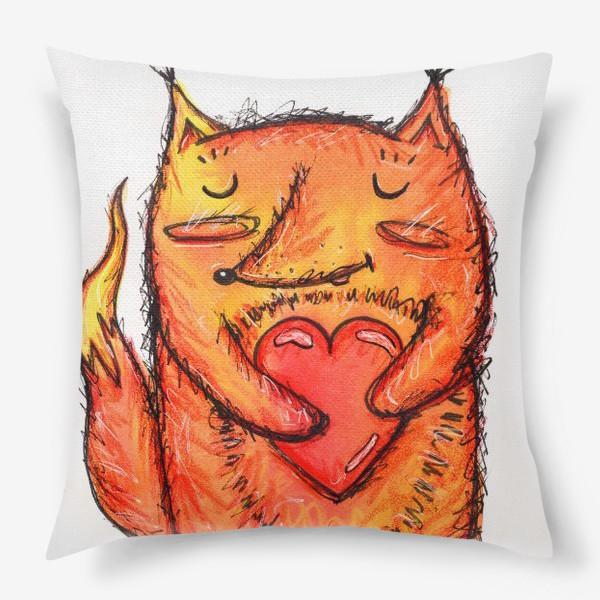 Подушка «Акварельный лисёнок с сердцем»