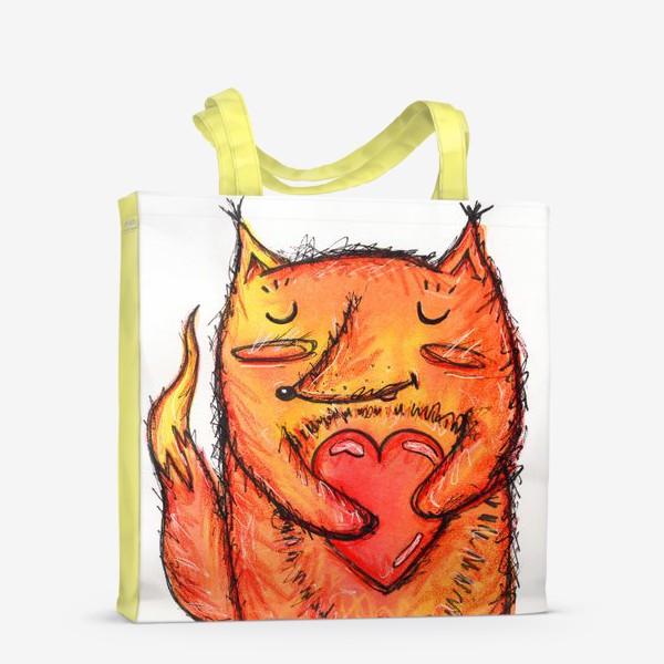 Сумка-шоппер «Акварельный лисёнок с сердцем»