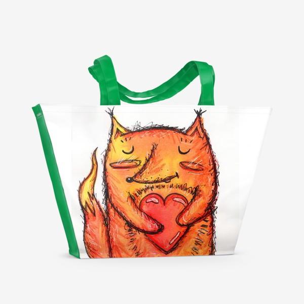 Пляжная сумка «Акварельный лисёнок с сердцем»